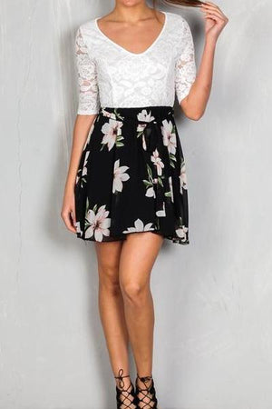 Lace Floral Belted Mini Dress
