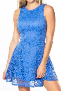 Lace Light Royal Skater Dress