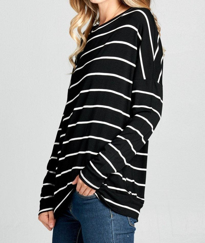 Riley Striped Dropped Shoulder Open Back Top