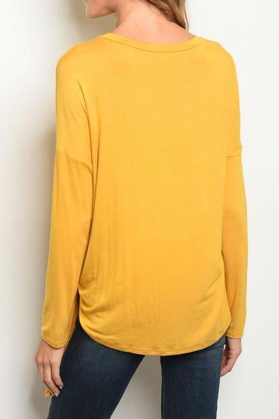 Super Soft Front Tie Tunic Top (Mustard)