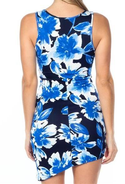 Plunge Floral Wrap Bodycon Mini Dress