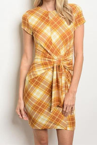 New Girl Plaid Front Tie Mini Dress (Mustard)