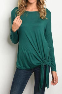 Super Soft Front Tie Tunic Top (Emerald)