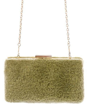 Gwen Fuzzy Rectangle Chain Faux Fur Clutch (Dusty Pink)