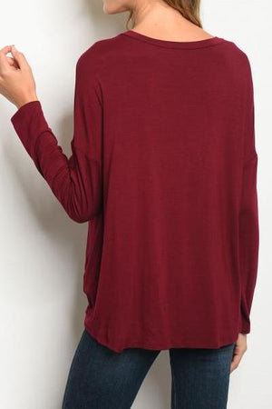 Super Soft Front Tie Tunic Top (Burgundy)