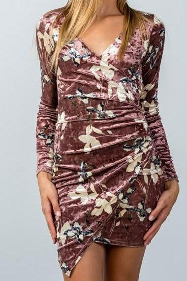 Crushed Floral Velvet Asymmetric Mini Dress (Mauve)