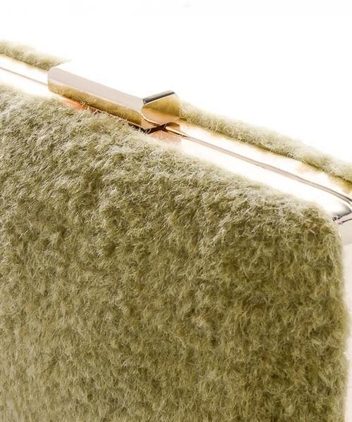Gwen Fuzzy Rectangle Chain Faux Fur Clutch (Black)