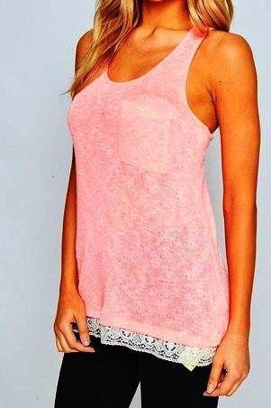 TERI LACE TRIM KNIT TANK