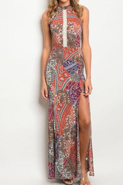 Boho Printed Slit Maxi Dress