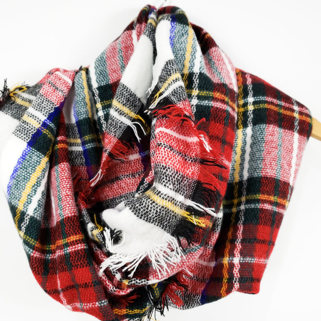 Fireside Plaid Scarf (White)