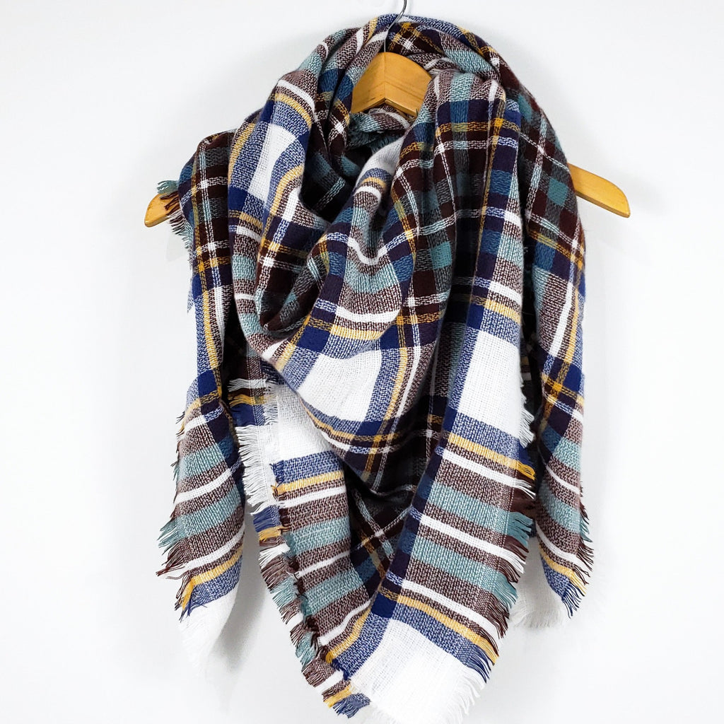 Cozy at Heart Plaid Blanket Scarf (Teal)