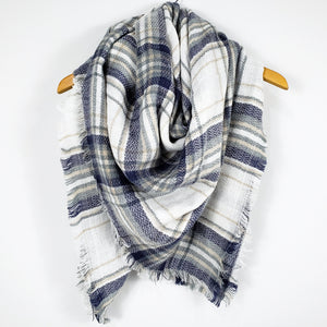 Cozy at Heart Plaid Blanket Scarf (Blue)