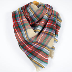 Cozy at Heart Plaid Blanket Scarf (Tan)