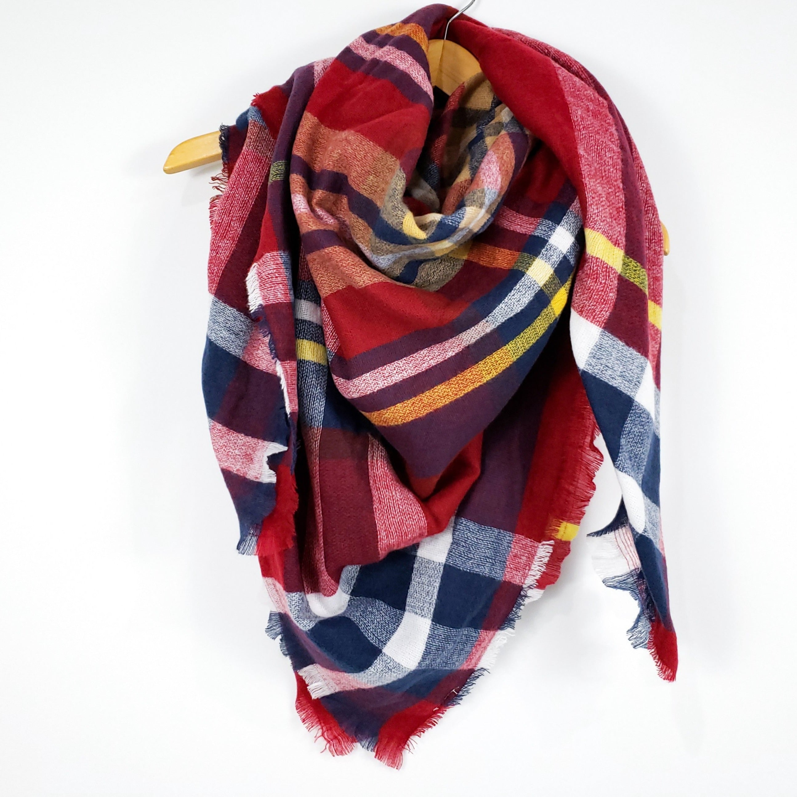 Cozy at Heart Plaid Blanket Scarf (Red)