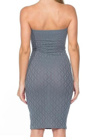 GEOMETRIC BODYCON TUBE MIDI DRESS (SAGE)