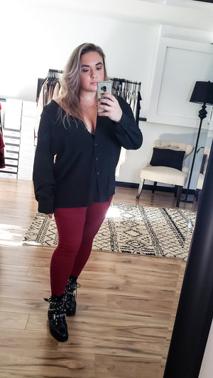 Premium Moto Jeggings (Burgundy)