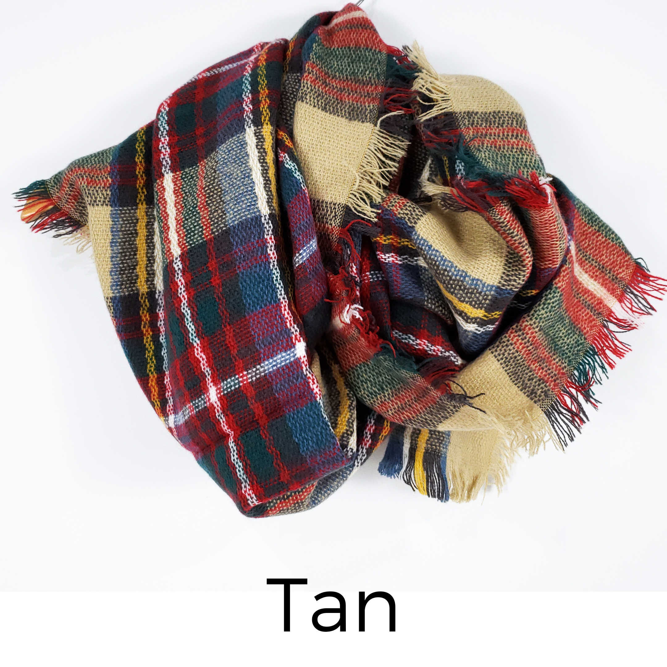 Fireside Plaid Scarf (Tan)