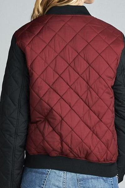 Two Tone Quilted Bomber Jacket (Burgundy)