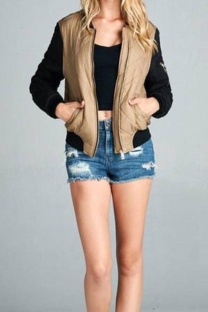 Two Tone Quilted Bomber Jacket (Khaki)