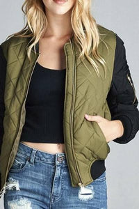 Two Tone Quilted Bomber Jacket (Olive)