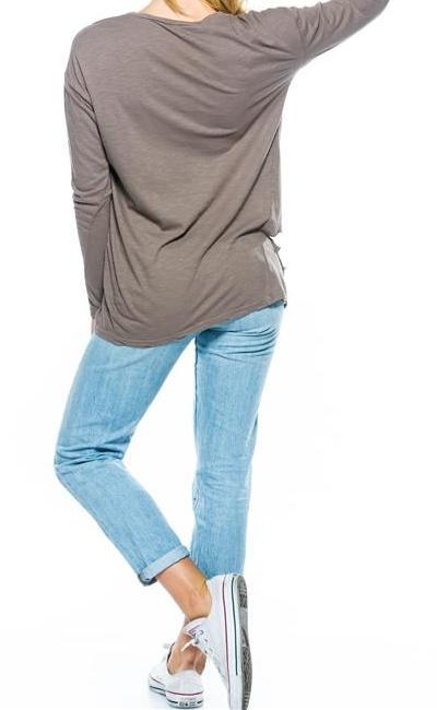 Long Sleeve Distressed Tee (Taupe)