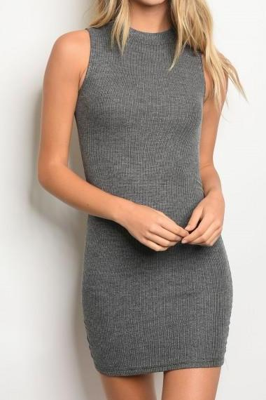Ribbed Ruched Mock Neck Mini Dress