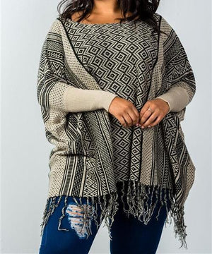 Tara Fringe Poncho Sweater (Plus)
