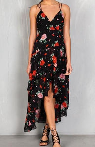FLORAL TIERED HI-LOW MAXI DRESS