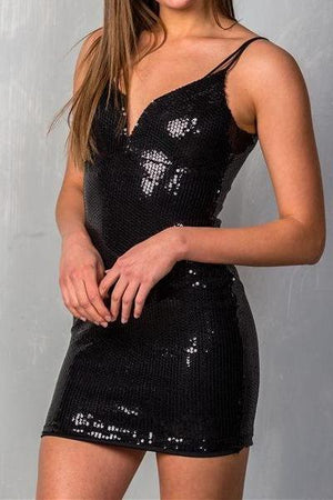 Sweetheart Plunge Strappy Sequin Mini Dress