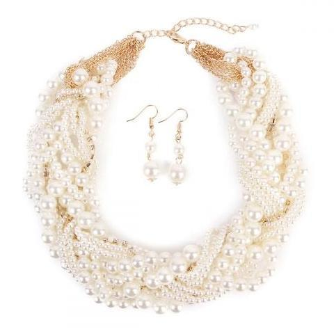 TEA TIME CLASSIC PEARL BRAIDED BIB NECKLACE SET