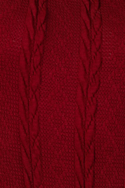 Naomi Cable Knit Sweater Bodysuit (Maroon)
