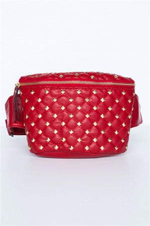 Kira Gold Studded Faux Red Leather Fanny Pack
