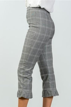 Heather Plaid High Waist Ruffle Crop Pants