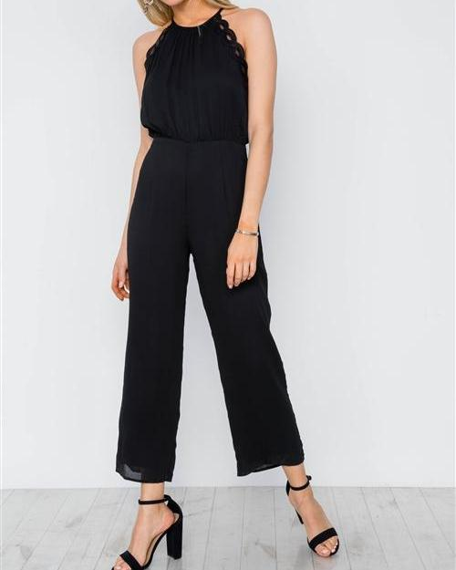 Maria Classic Black Cropped Jumpsuit