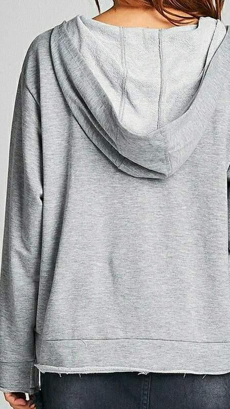 Raw Lace-Up Hoodie (Gray)