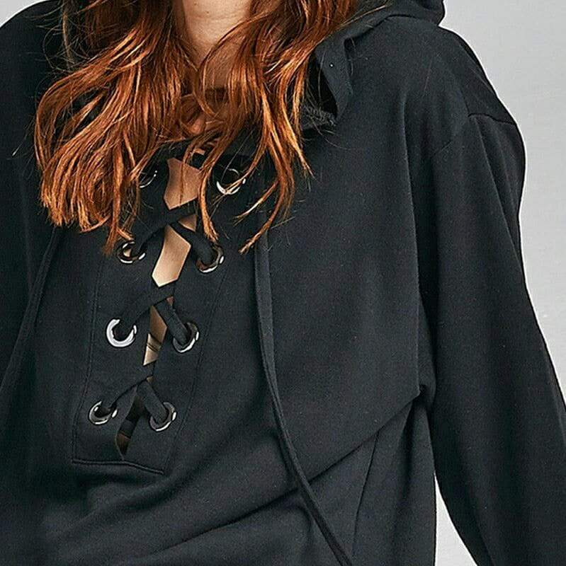 RAW LACE-UP HOODIE (BLACK)