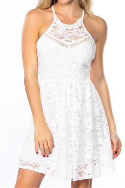 Lace White Strappy Skater Dress