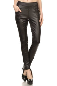 Fleece Lined Vegan Leather Pocket Leggings