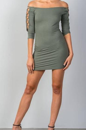 Bardot Ribbed Bodycon Mini Dress (Avocado)
