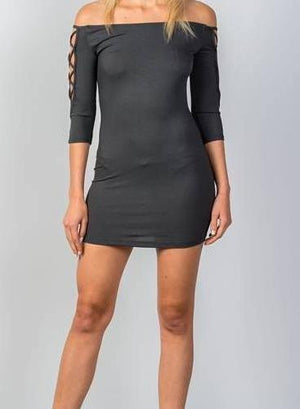 Bardot Ribbed Bodycon Mini Dress (Charcoal)