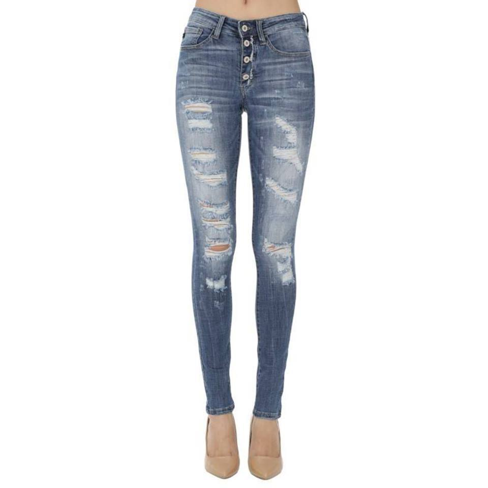 Sadie Button Up Distressed Skinny Jeans