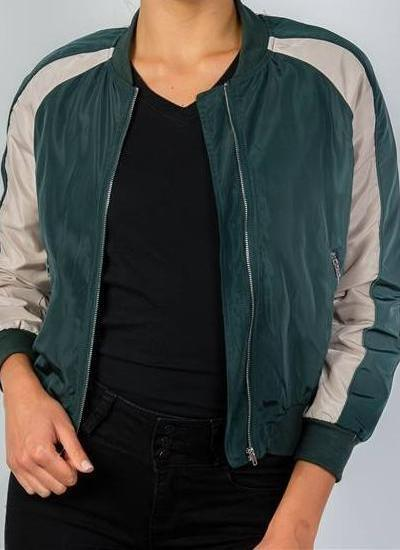 Mia Stripe Bomber Jacket (Hunter Green)