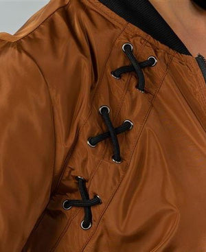 Lace-Up Copper Bomber Jacket