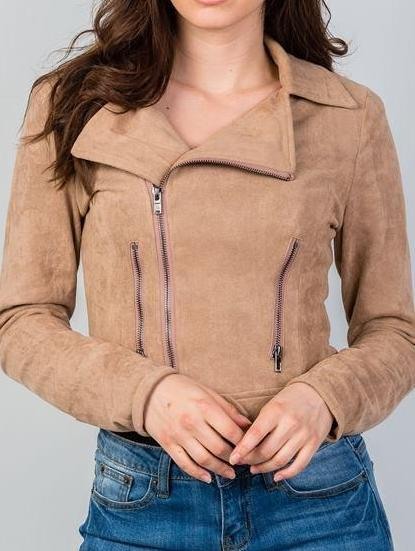 Dani Moto Crop Zipper Vegan Suede Jacket (Taupe)