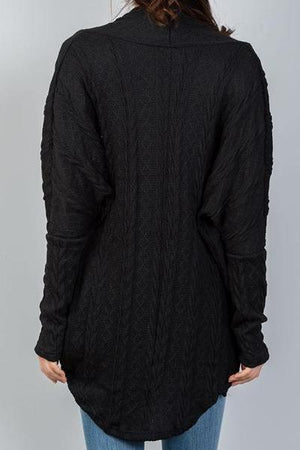 Hannah Drop Shoulder Cable Knit Cardigan (Black)