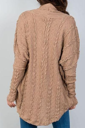 Hannah Drop Shoulder Cable Knit Cardigan (Tan)