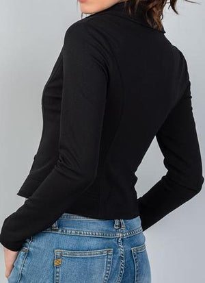Dani Moto Crop Zipper Vegan Suede Jacket (Black)