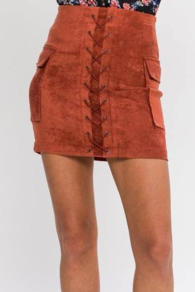 BROOKLYN LACE-UP VEGAN SUEDE BODYCON MINI SKIRT (BRICK)