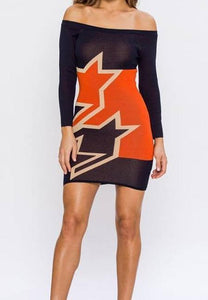 Off the Shoulder Star Bodycon Sweater Mini Dress