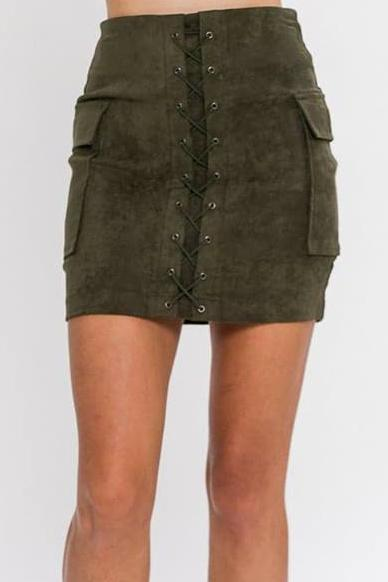 BROOKLYN LACE-UP VEGAN SUEDE BODYCON MINI SKIRT (OLIVE)